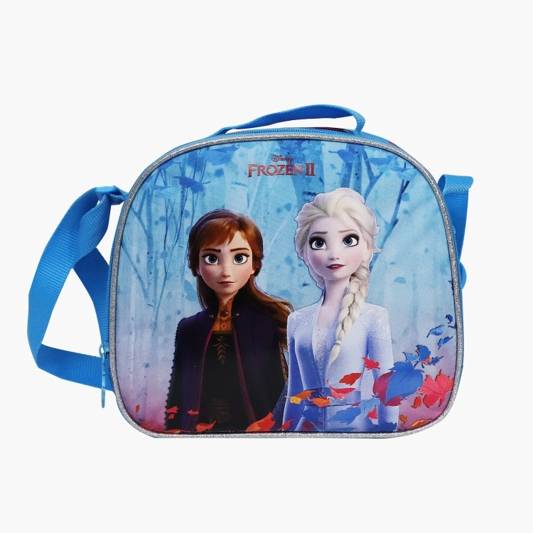 Disney Frozen Print Lunch Bag with Strap and Zip Closure