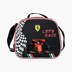 Ferrari Print Lunch Bag with Strap and Zip Closure
