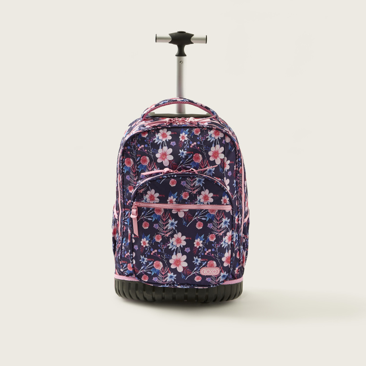 ROCO Floral Print Trolley Backpack with Pencil Case - 20 inches