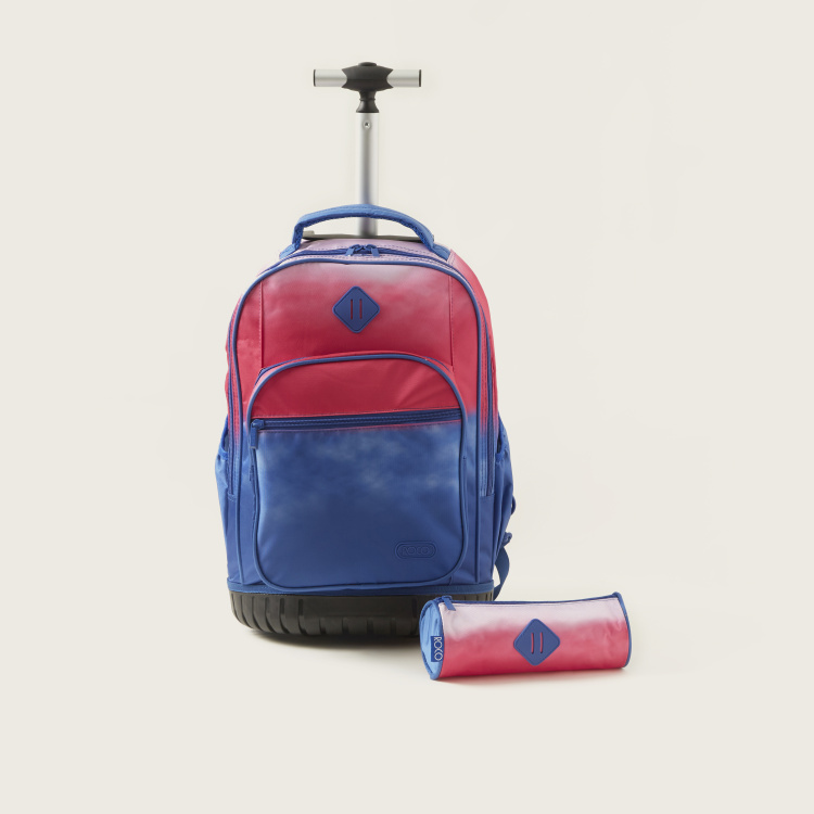 ROCO Textured Trolley Backpack with Pencil Case - 20 inches