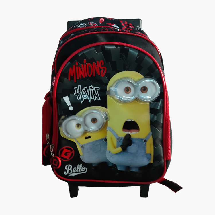 Minions Print Trolley Backpack with Zip Closure - 14 inches