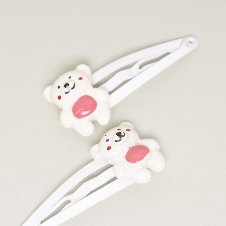 Charmz Bear Applique Detail Hairpins - Set of 2