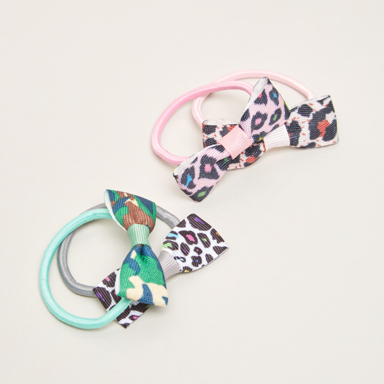 Charmz Bow Applique Detail Hair Ties - Set of 4
