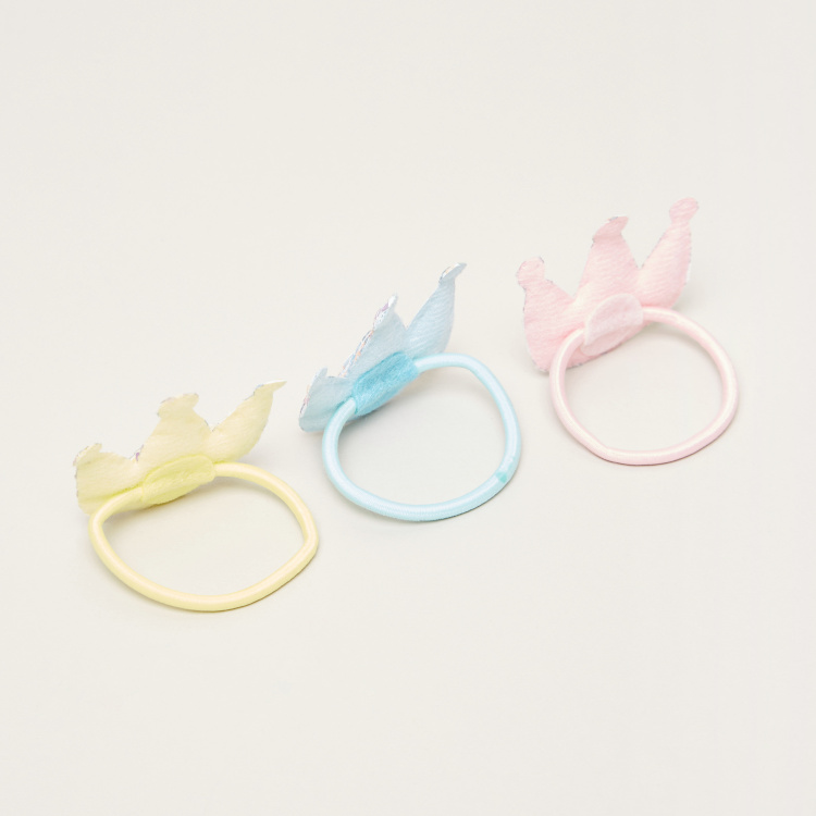Charmz Crown Applique Detail Hair Ties - Set of 3