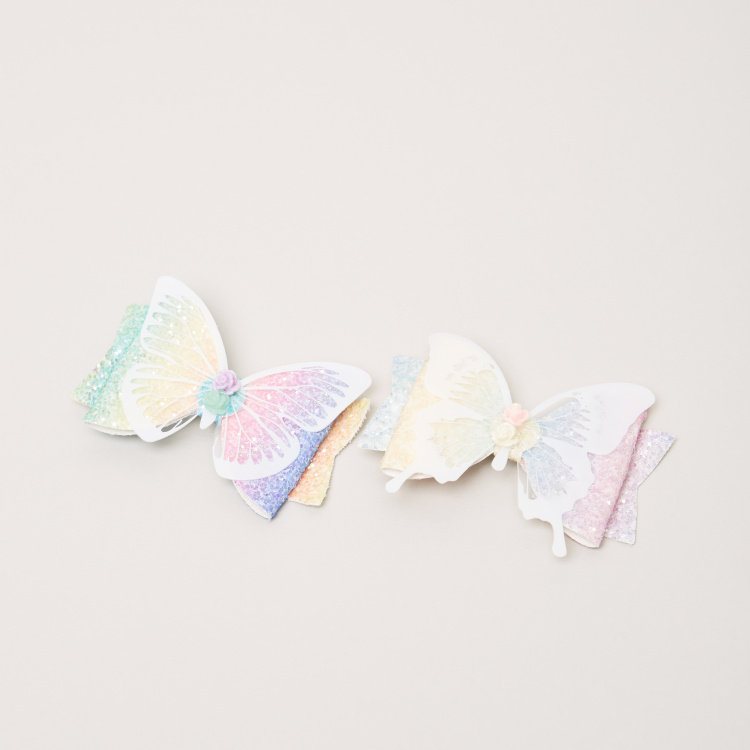 Charmz Butterfly Applique Detail Hairpins - Set of 2