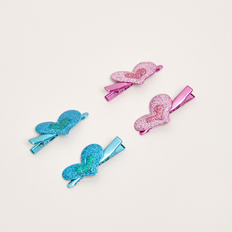 Charmz Glitter Finished Heart Accented Hair Clip - Set of 4