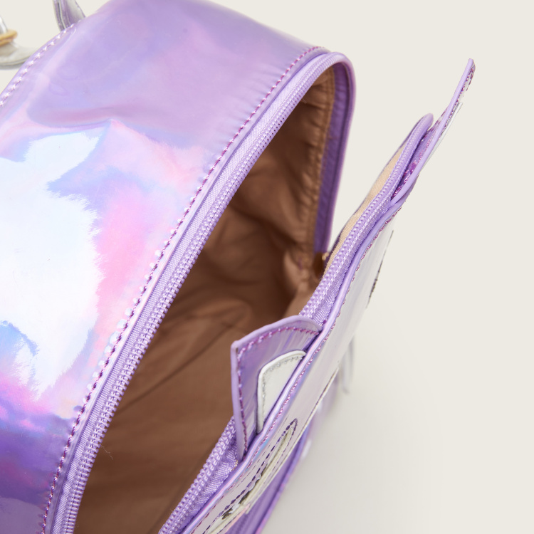 Charmz Stitch Detail Glossy Backpack with Zip Closure