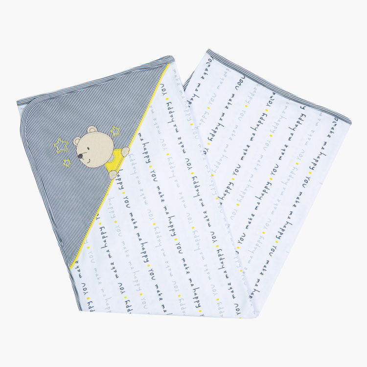 Juniors Bear and Typographic Print Receiving Blanket - 75x100 cms