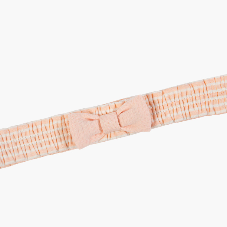 Juniors Striped Ruched Headband with Bow Accent