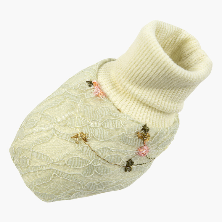 Giggles Floral Embroidered Farah Booties