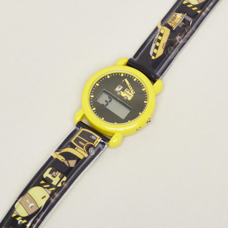 Juniors Digital Wrist Watch with Printed Strap and Buckle Closure