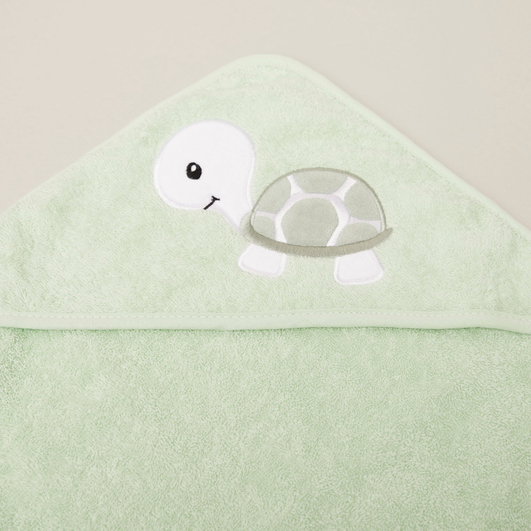 Juniors Turtle Embroidered Towel with Hood - 80x80 cms