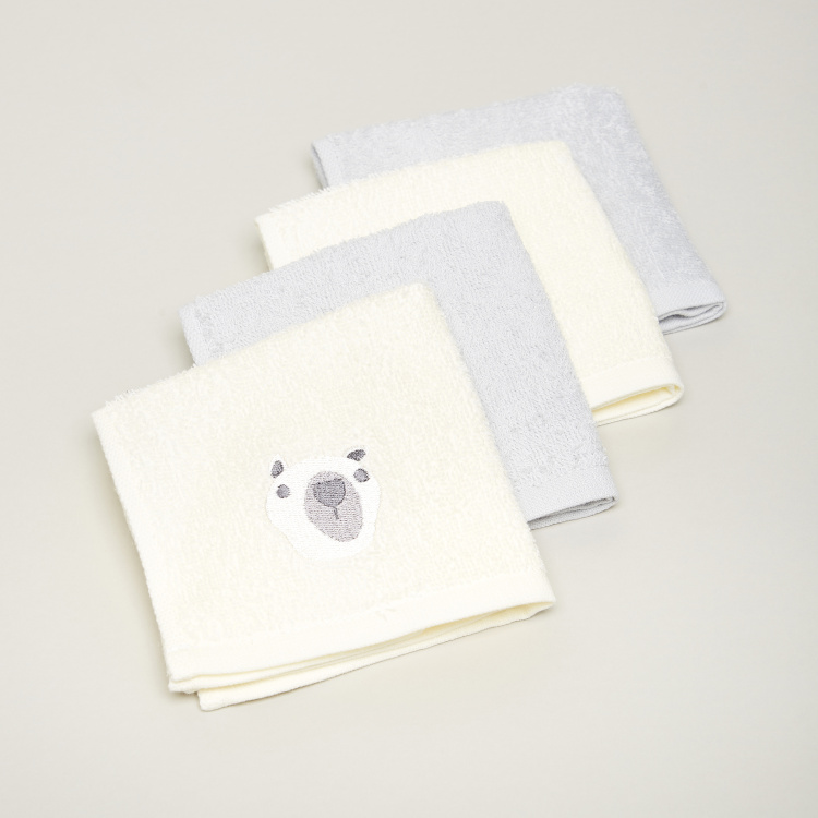 Juniors Embroidered 4-Piece Wash Cloth Set - 26x26 cms