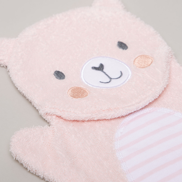 Juniors Striped Hood Towel and Bear Mitten Muppet - 75x75 cms