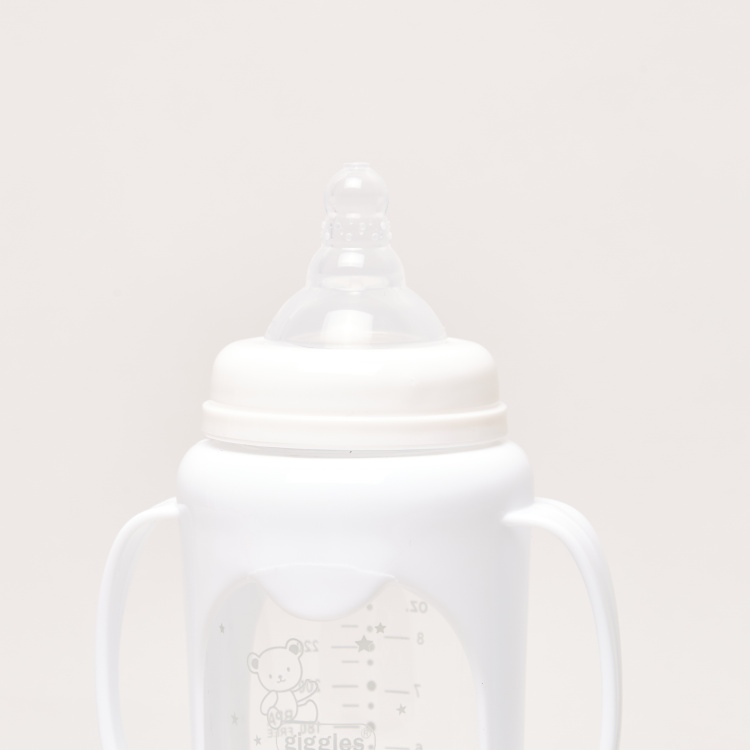 Giggles Printed Glass Feeding Bottle with Cover- 250 ml
