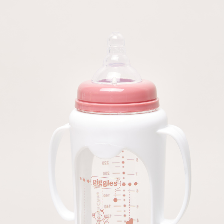 Giggles Printed Glass Feeding Bottle with Cover - 250 ml