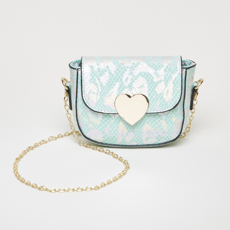 Charmz Textured Crossbody Bag with Metallic Chain