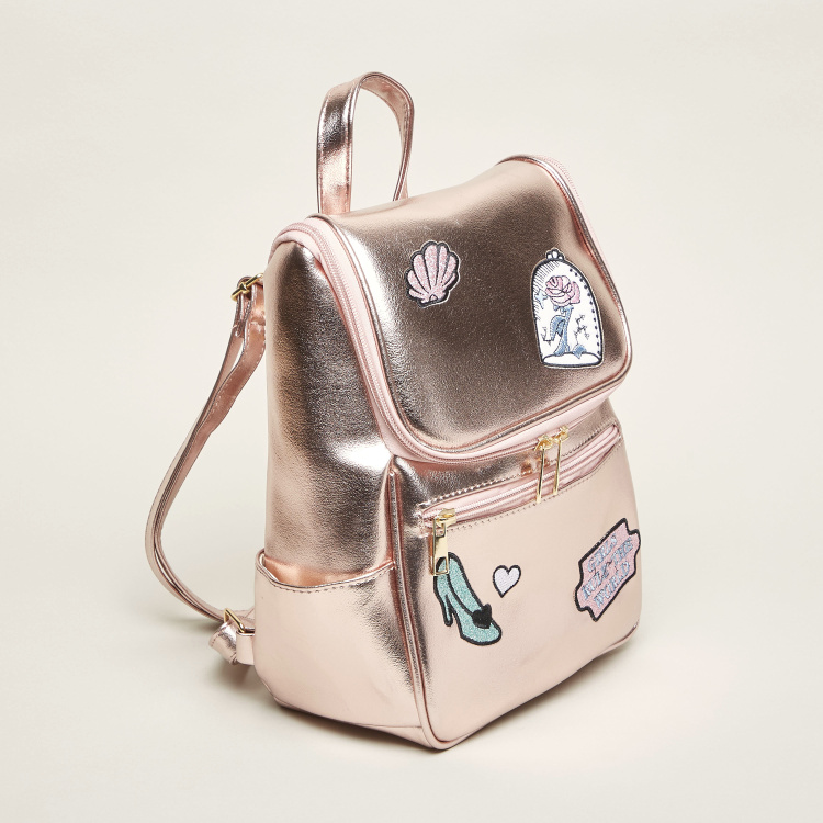 Charmz Glitter Accent Backpack with Embroidered Detail and Zip Closure