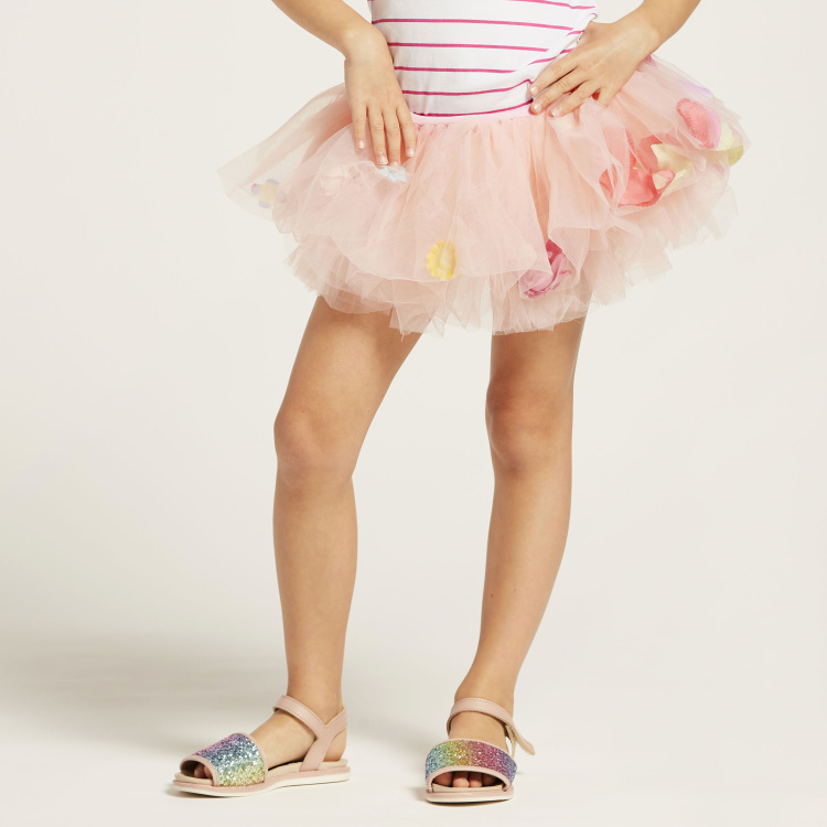 Charmz Tutu Skirt with Floral Appliques