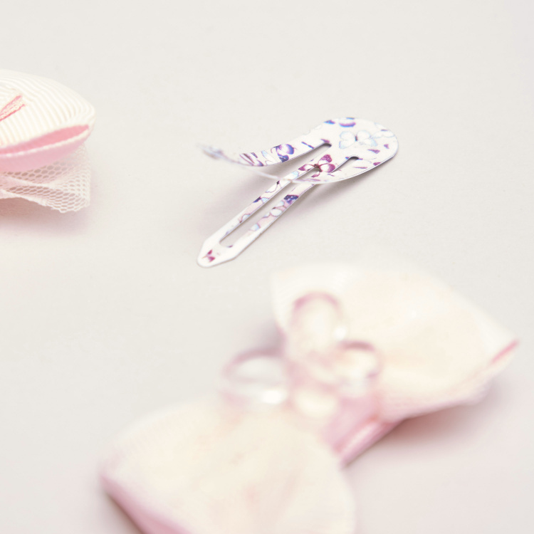 Charms Printed Hair Clips with Bow Detail - Set of 4