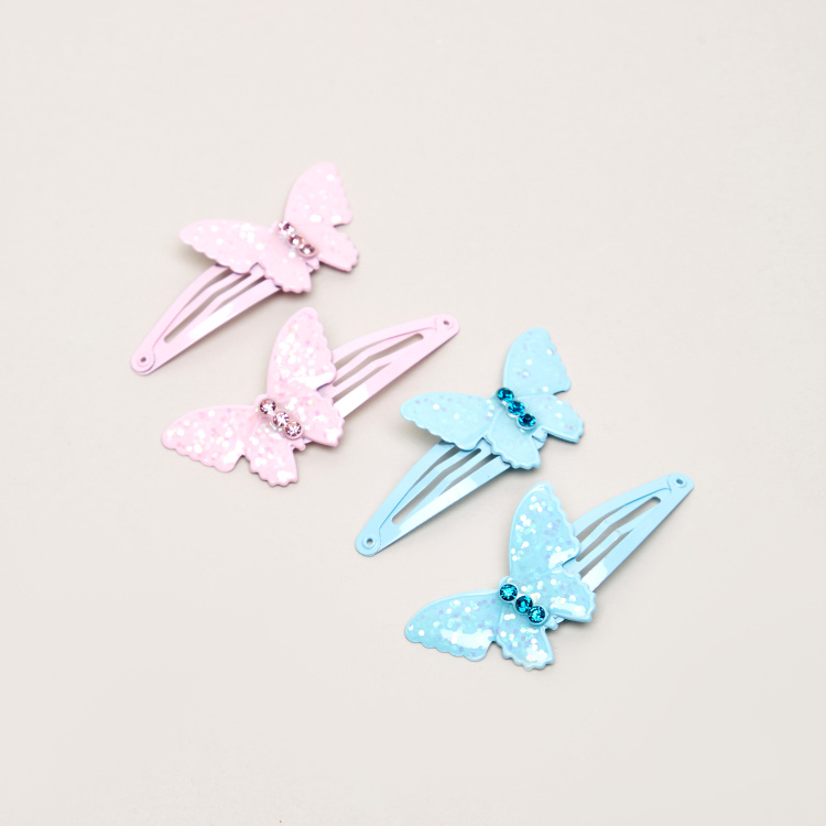 Charmz Butterfly Applique Detail 4-Piece Hair Accessory Set