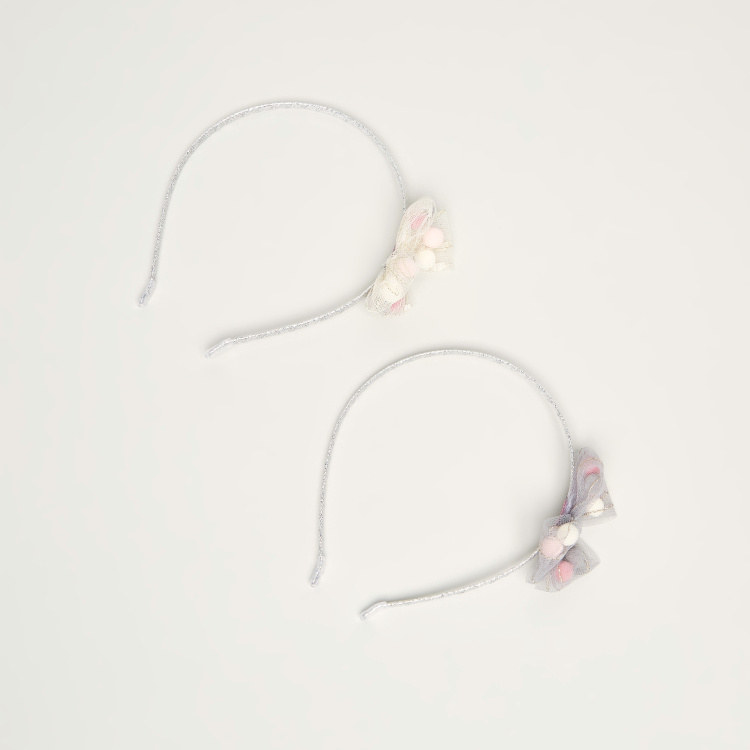 Charmz Hard Hairband with Mesh Bow Appliques - Set of 2