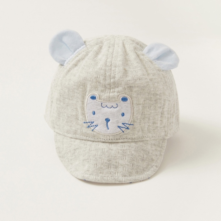 Juniors Textured Cap with Kitty Ear Appliques