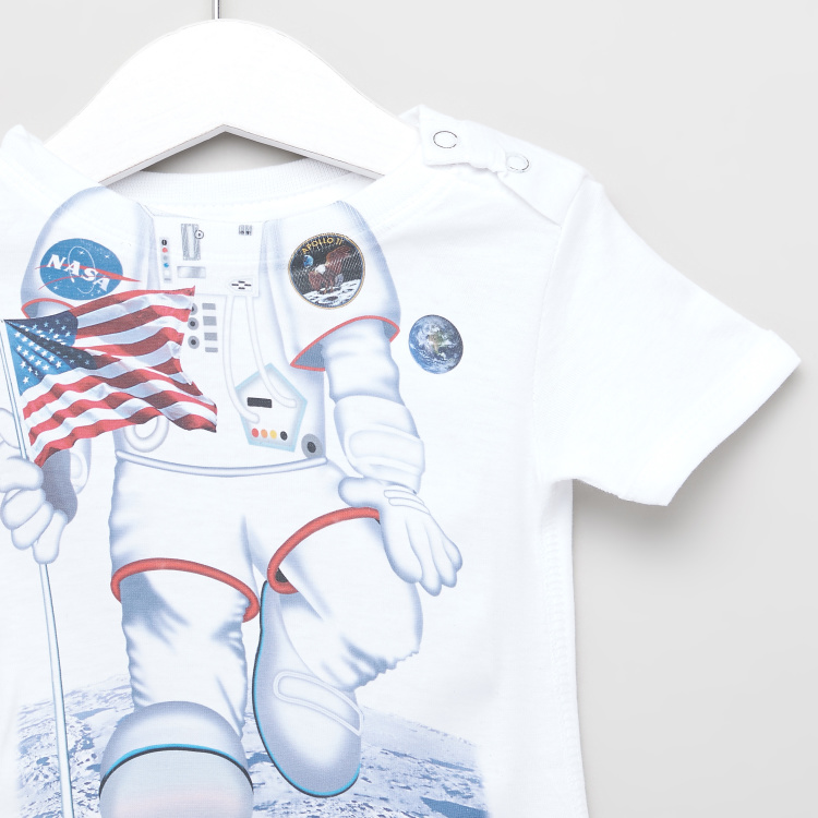Just Add A Kid Astronaut Print Bodysuit with Short Sleeves
