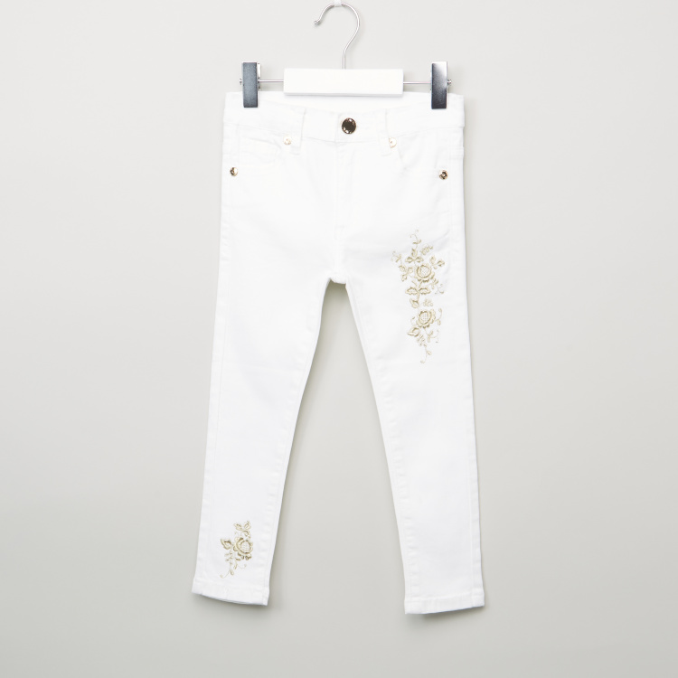Iconic Denim Trousers with Floral Embroidery