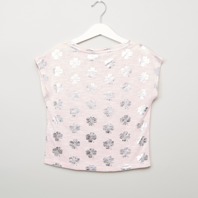 Iconic Printed T-shirt with Extended Sleeves and Round Neck