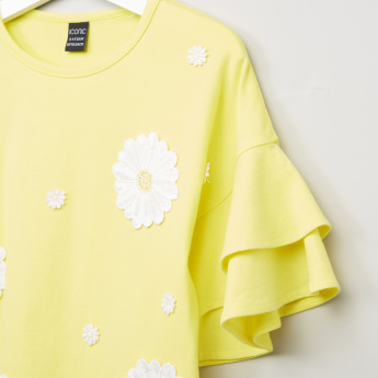 Iconic Floral Applique Detail Top with Layered Sleeves