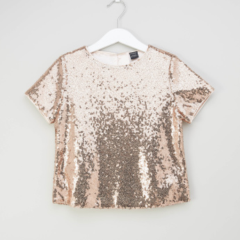 Iconic Sequinned Boxy Top with Short Sleeves