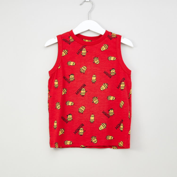 Iconic Minions Printed Sleeveless T-shirt with Round Neck