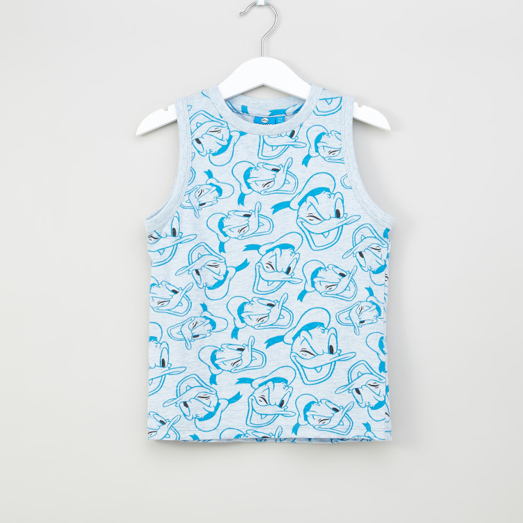 Iconic Donald Duck Graphic Printed Sleeveless T-shirt with Round Neck
