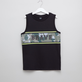 Iconic Printed Sleeveless T-shirt with Round Neck
