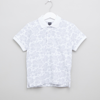 Iconic Printed T-shirt with Polo Neck and Short Sleeves