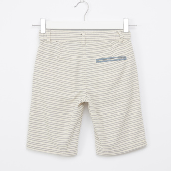 Bossini Striped Shorts with Pocket Detail and Button Closure