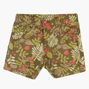 Bossini Printed Shorts with Button Closure and Pocket Detail