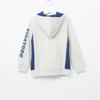 Bossini Printed Zip Detail Hooded Sweatshirt