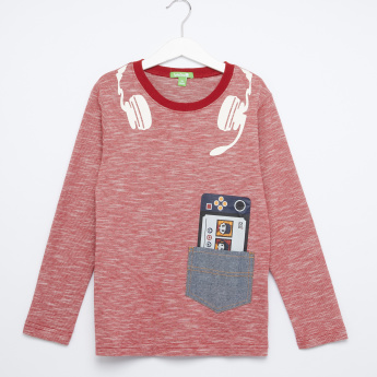 Bossini Printed Round Neck Long Sleeves T-Shirt