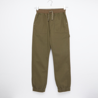 Bossini Textured Jog Pants with Pocket Detail and Drawstring