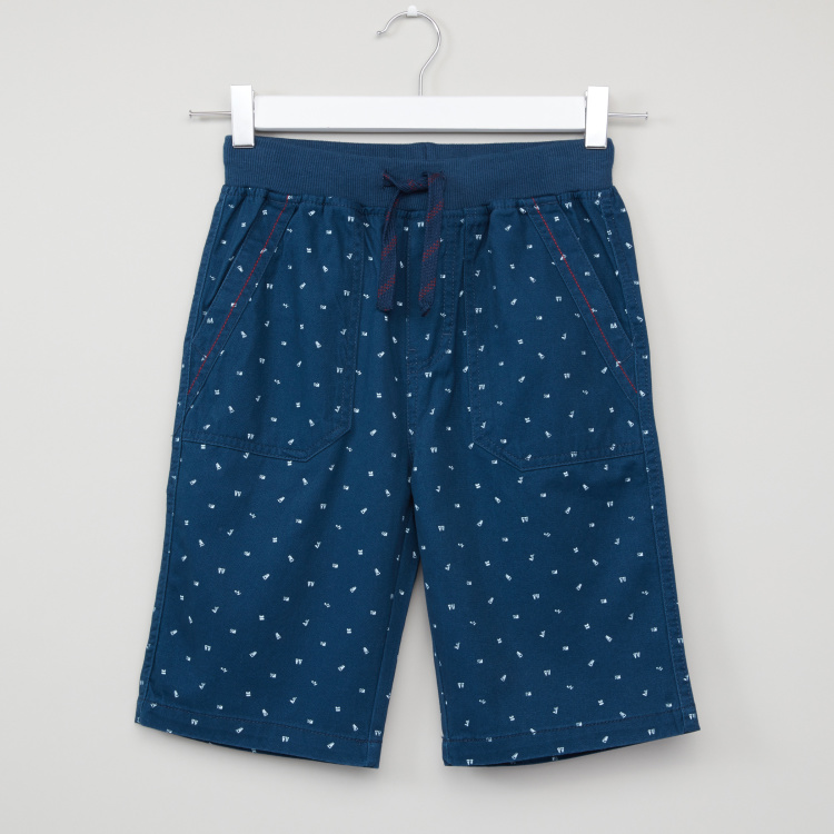 Bossini Printed Shorts with Elasticised Waistband and Drawstring