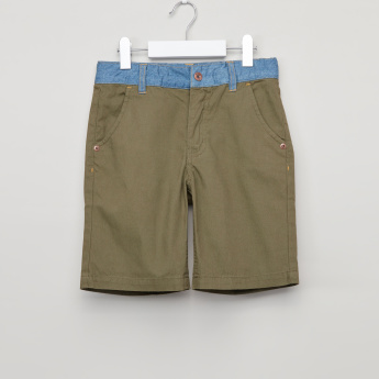 Bossini Ribbed Shorts with Pocket Detail and Button Closure