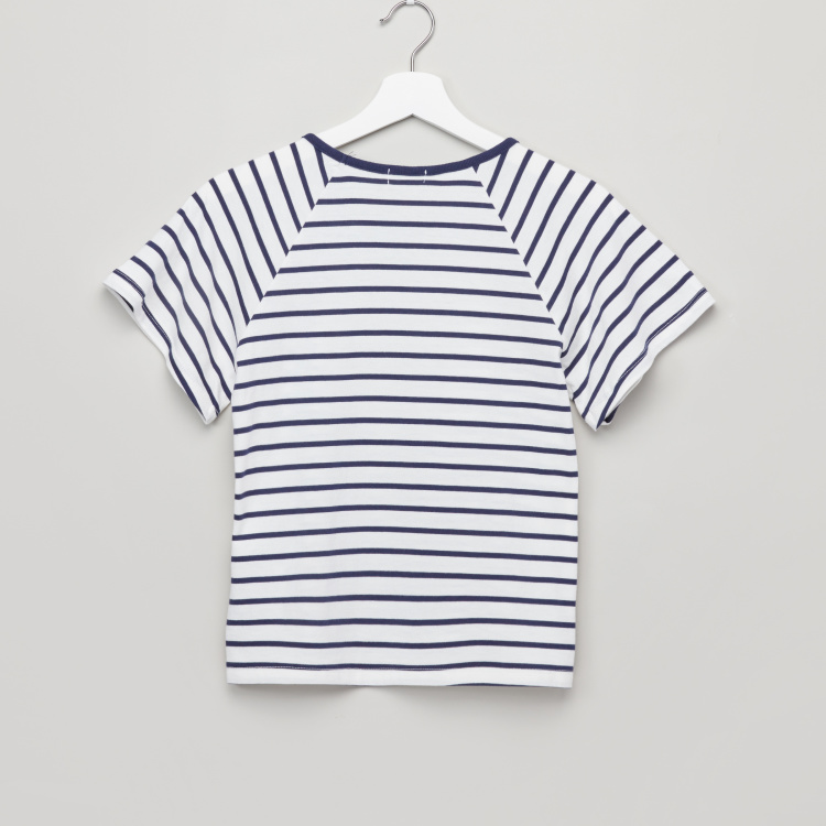 Bossini Striped Round Neck Raglan Sleeves T-Shirt