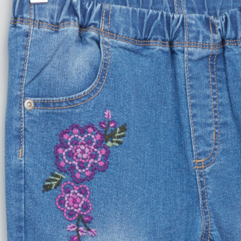 Bossini Embroidered Jeggings with Elasticised Waistband