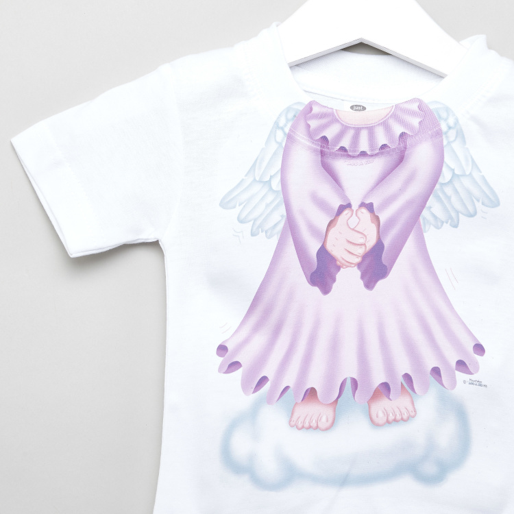 Just Add A Kid Angel Print T-shirt with Short Sleeves