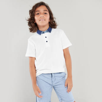 Bossini Polo T-shirt with Contrast Button-Down Collar