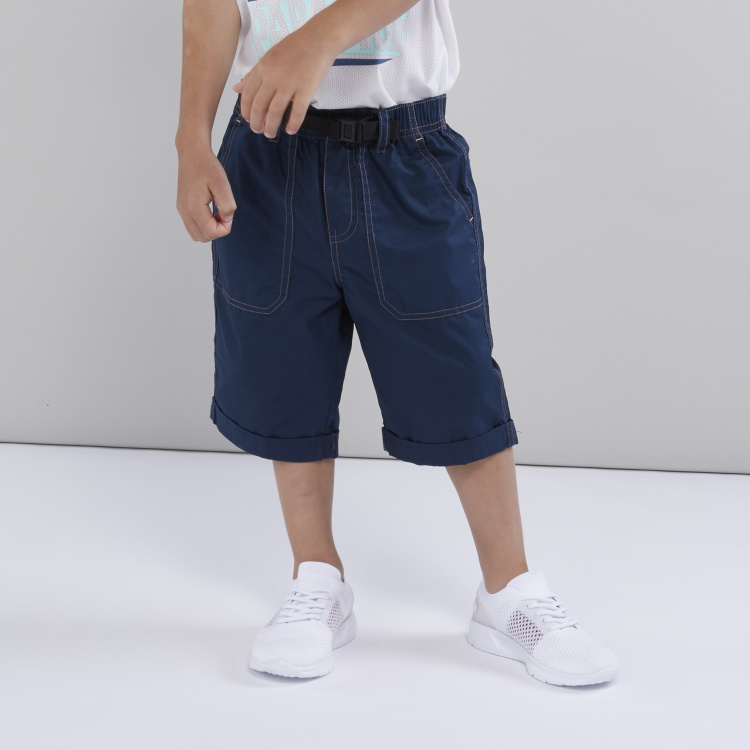 Bossini Pocket Detail Shorts with Elasticised Waistband and Buckle