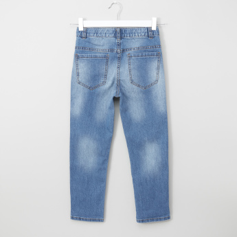 Bossini Printed Adjustable Waist Jeans with Pocket Detail
