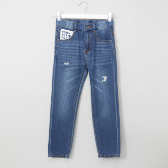 Bossini Pocket Detail Jeans with Adjustable Waist and Distressing